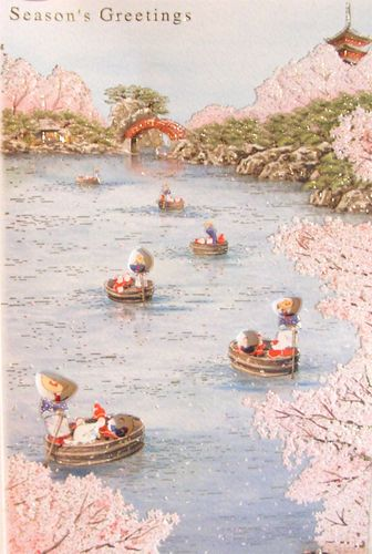 Japanese santas on a river
