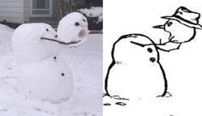Snowman holding his own head